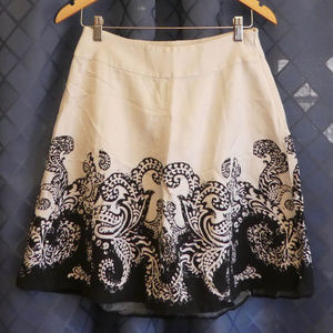💛 WHBM Lined Black & White A Line Skirt Small